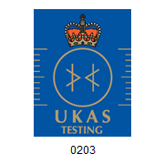UKAS Testing National Accreditation Symbol. Accreditation number 0203.