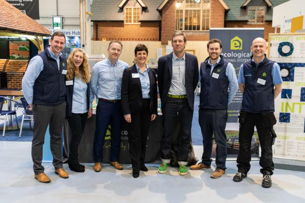 The Ecological Building Systems team line up with Charlie Luxton (third from right) prior to the Perfect AIRTIGHT SEAL Seminar Swindon at the National Self Build and Renovation Centre