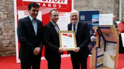 Best Services Provider: Winner — Brian Scannell, one of the Energy Show Product of the Show Awards 2015 judges with Niall Crosson, Ecological Building Systems and Tom Halpin, Head of Information, SEAI.