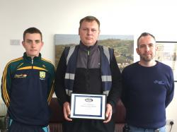 Vegetable Division Employee of the Year winner Aivaras Ramonas accepts his award from Mark Fedigan and Mark McKenna.