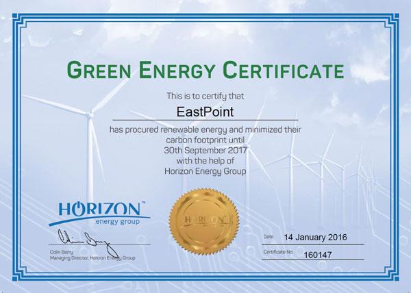 Eastpoint - Green Energy Certificate
