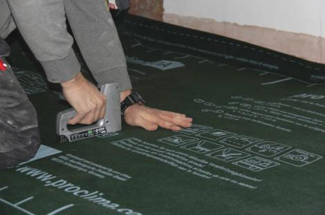 Figure 12 -sealing airtight layer prior to re-relaying finished floor