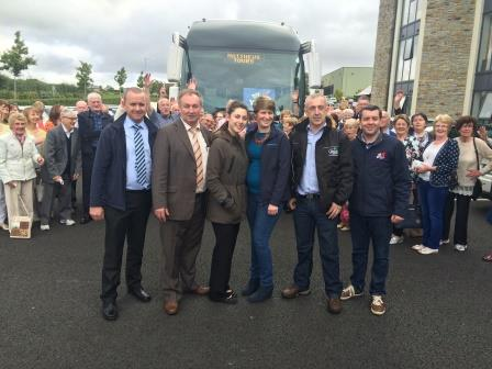 The LMFM Mystery tour Group poses for a pic right before they depart.