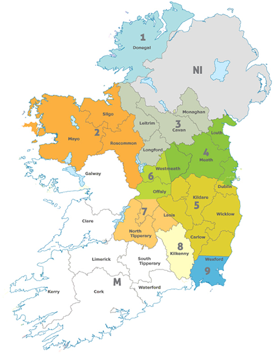 Ireland map for Semen bulls