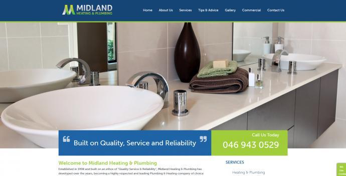 Midland Heating Plumbing Website Image