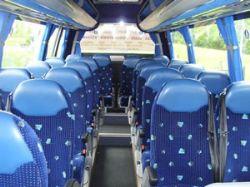 Inside Donoghues 23 seater mini coach