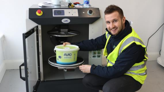 Paul McGovern with the first ready mix colours for life natural paint