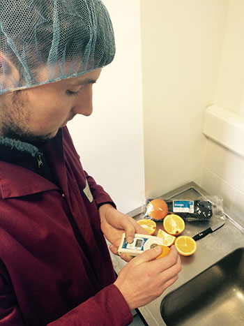 Adam measures the sugar content of the oranges