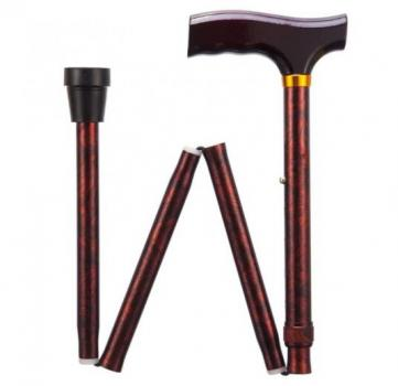 Folding Adjustable Walking Stick - Birds Eye Maple