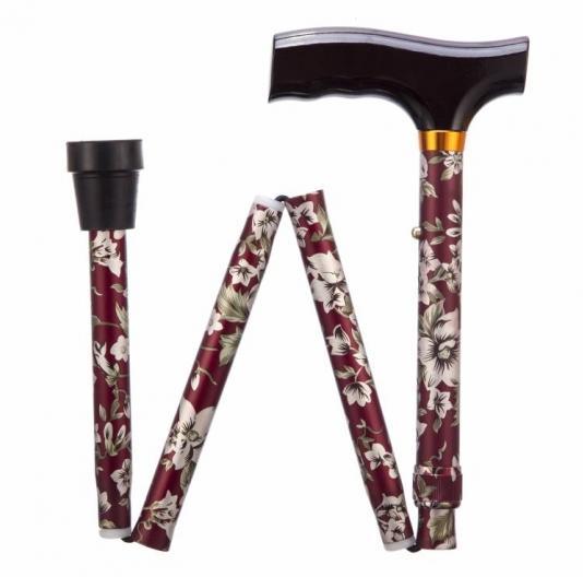 Folding Adjustable Walking Stick - Burgundy Flower