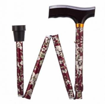 Folding Adjustable Walking Stick - Burgundy Flower
