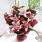 Red Rose & Pink  Lily Hand-tied Bouquet