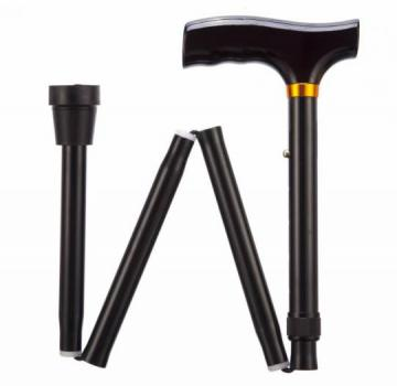 Folding Adjustable Walking Stick - Black