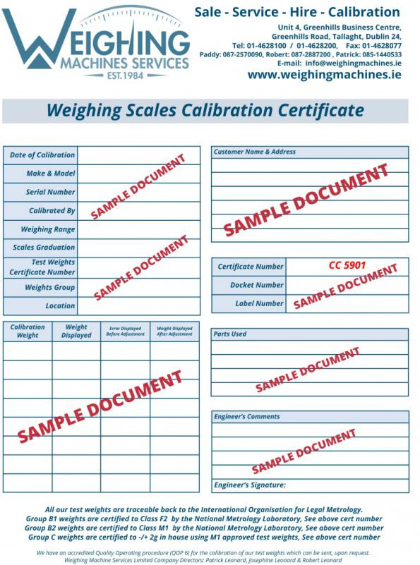 Approved Calibration Certificate  , related product of Medical Chair Scales