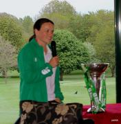 Jackie Shiels with the Six Nations Women's Rugby Championship Trophy