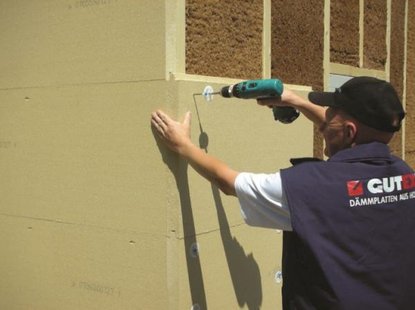GUTEX THERMOWALL woodfibre insulation fitted to external walls of the building