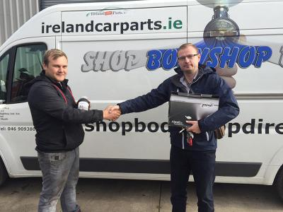 Winner of the SCHOLL Polishing Kit - Martynas from M&A Garage with our rep Marek.
