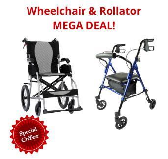 Ergo Lite Transit Wheelchair with Lightweight Rollator